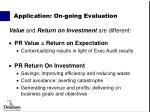 application on going evaluation