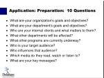 application preparation 10 questions