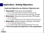 application setting objectives