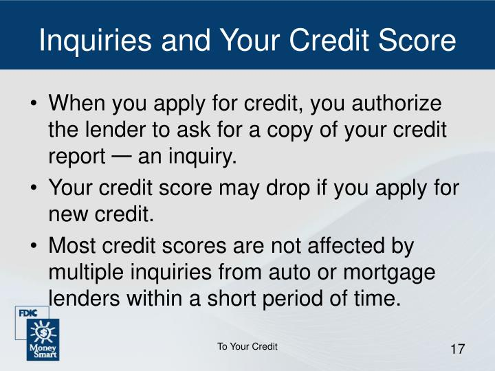 Inquiries and Your Credit Score