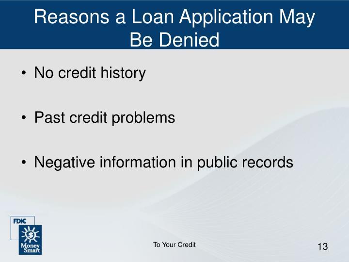 Reasons a Loan Application May Be Denied