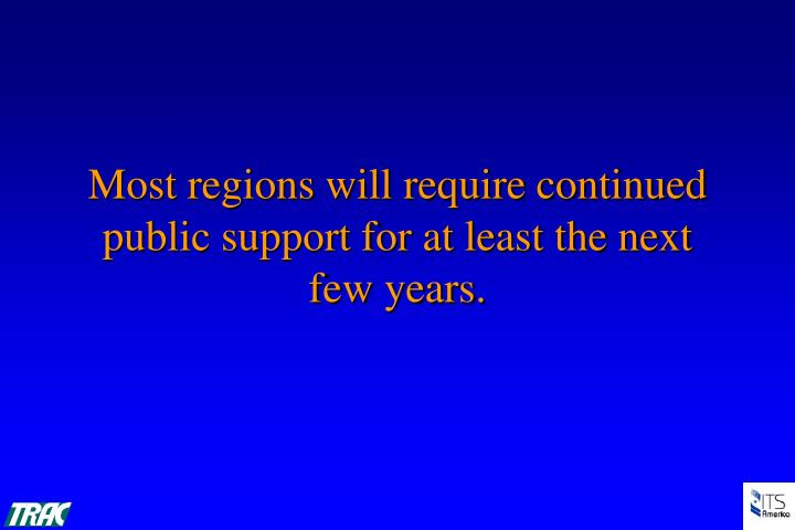 Most regions will require continued public support for at least the next few years.