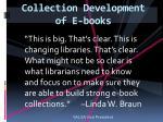 collection development of e books