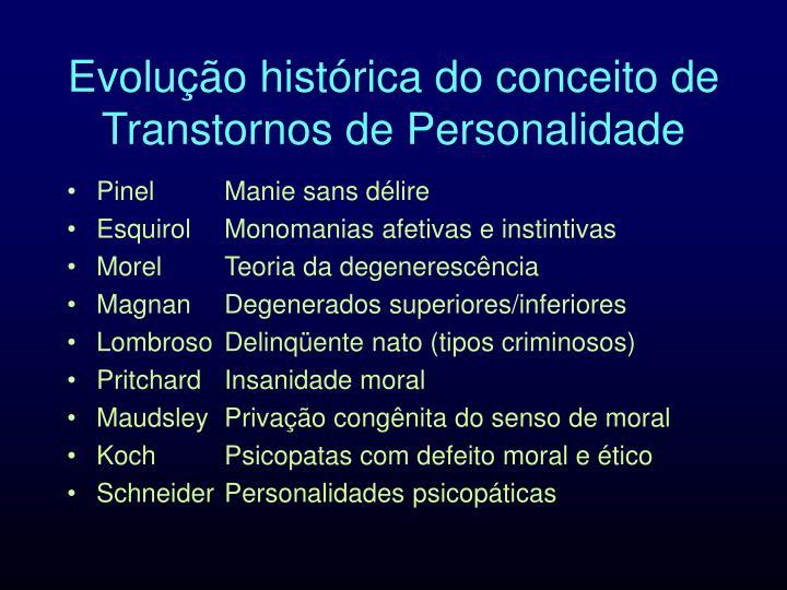 Evolução histórica do conceito de Transtornos de Personalidade
