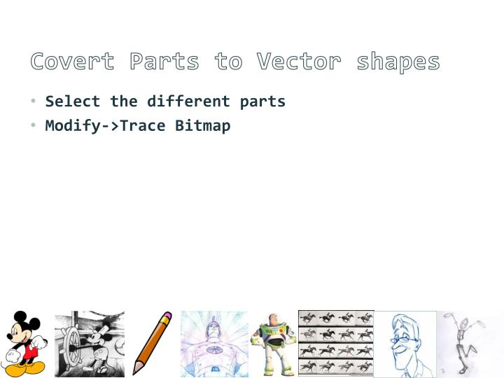 Covert Parts to Vector shapes