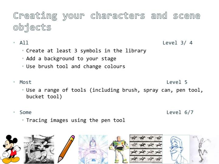 Creating your characters and scene objects