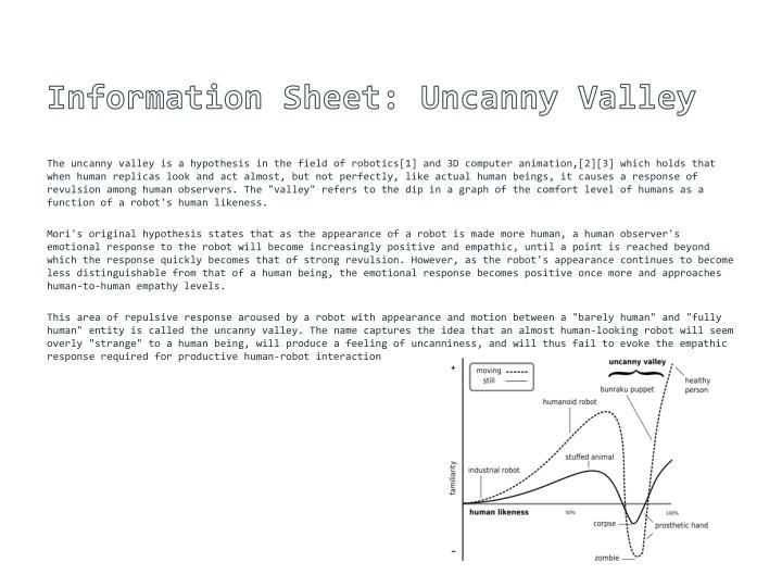 Information Sheet: Uncanny Valley
