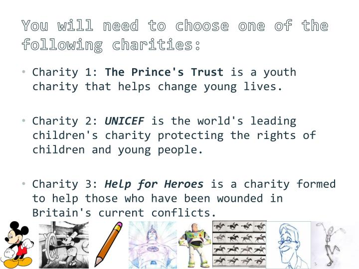 You will need to choose one of the following charities