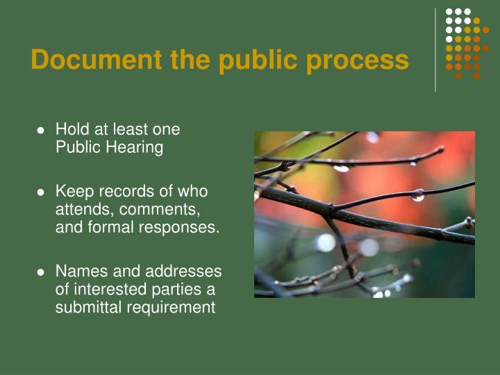 Document the public process