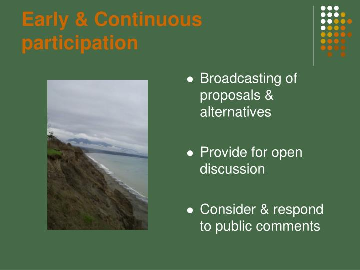 Early & Continuous participation