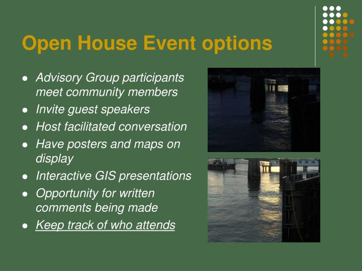 Open House Event options