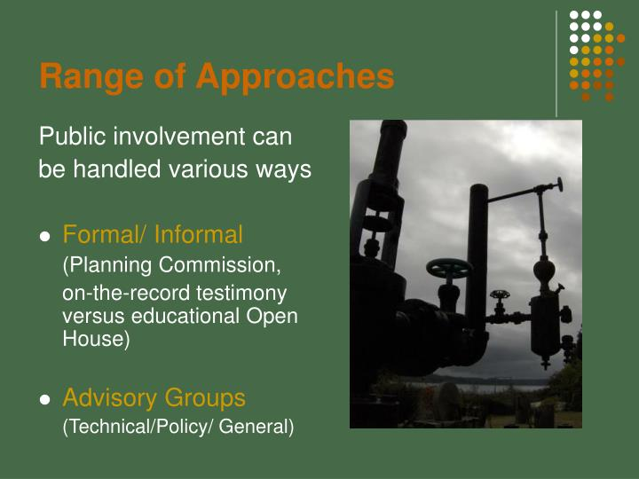 Range of Approaches