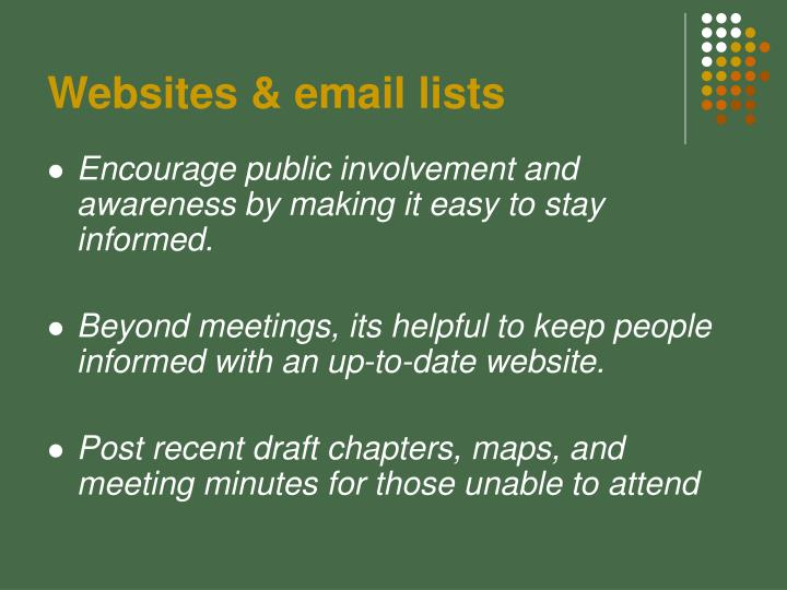 Websites & email lists