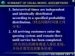 summary of usual model assumptions