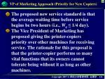 vp of marketing approach priority for new copiers