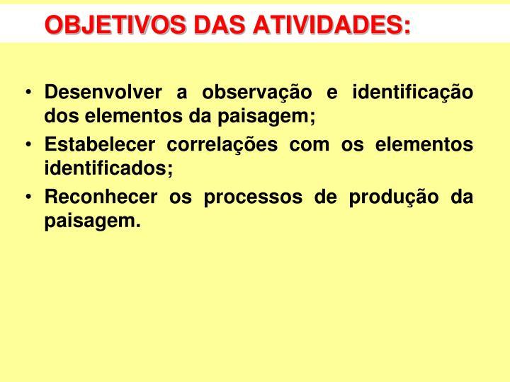 OBJETIVOS DAS ATIVIDADES: