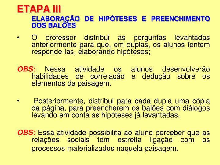 ETAPA III