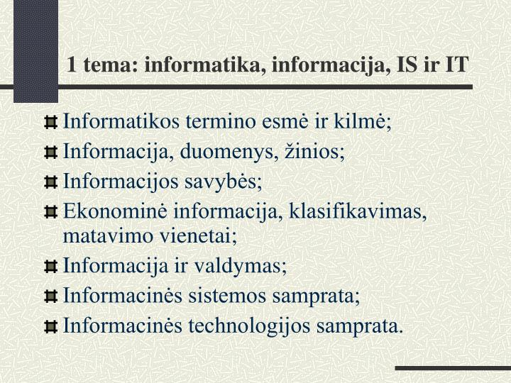 1 tema informatika informacija is ir it