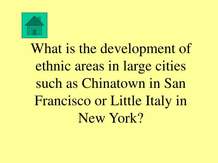 What is the development of ethnic areas in large cities such as Chinatown in San Francisco or Little Italy in New York?