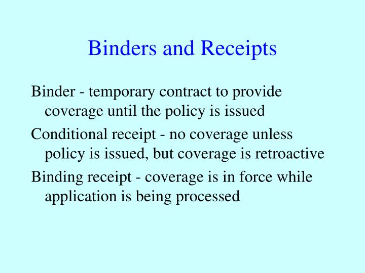Binders and receipts