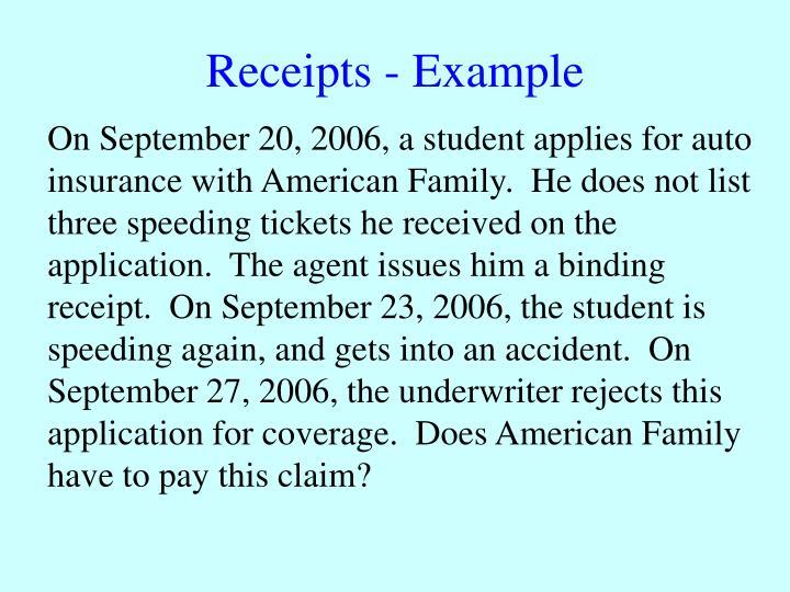 Receipts - Example