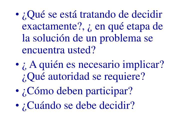 ¿Qué se está tratando de decidir exactamente?, ¿ en qué etapa de la solución de un problema se...