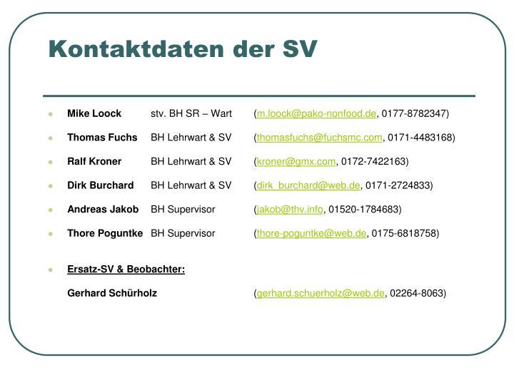 Kontaktdaten der SV