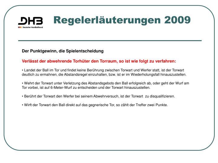 Regelerläuterungen 2009
