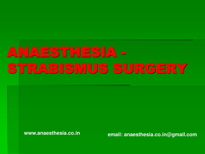anaesthesia strabismus surgery n.