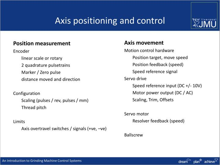 Axis positioning and control