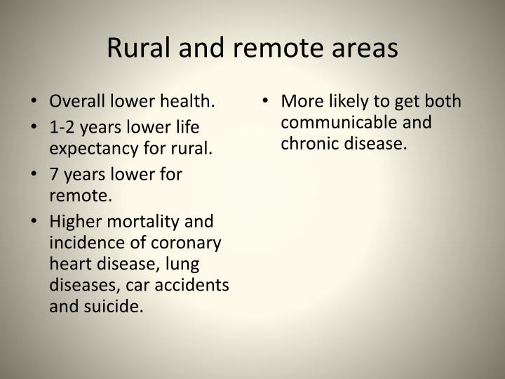 Rural and remote areas