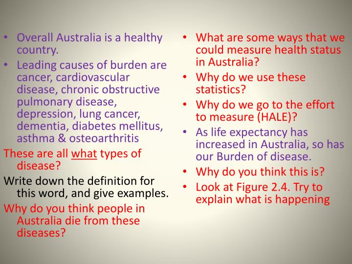 Overall Australia is a healthy country.