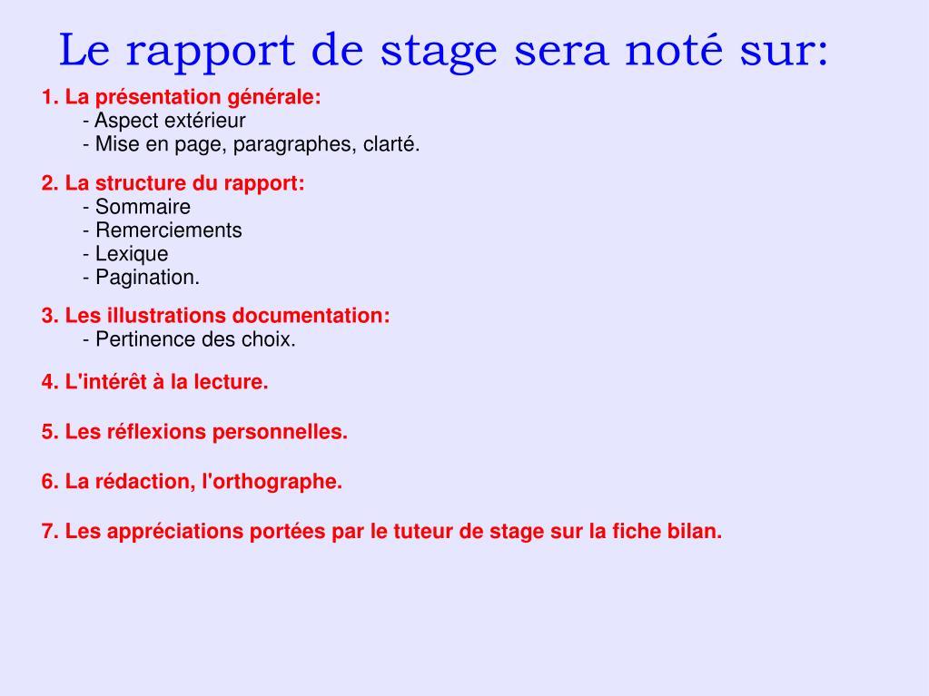 Ppt Le Rapport De Stage Powerpoint Presentation Free