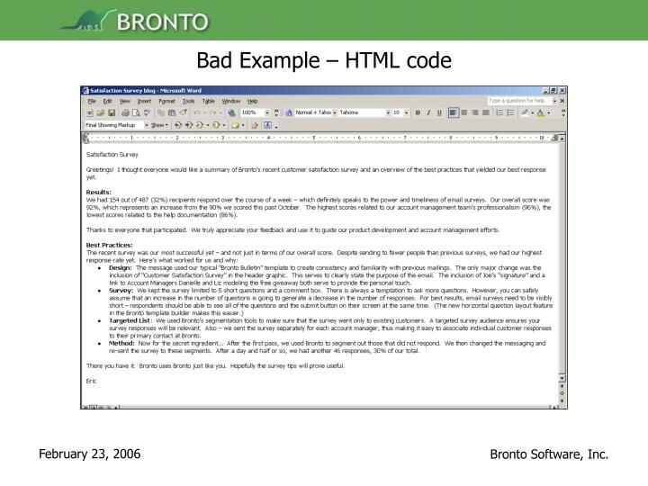 Bad Example – HTML code
