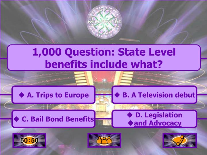 1,000 Question: State Level benefits include what?