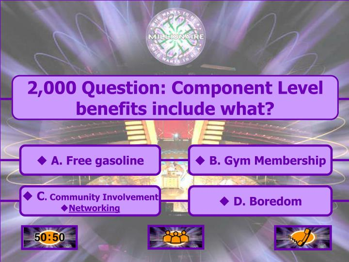 2,000 Question: Component Level benefits include what?