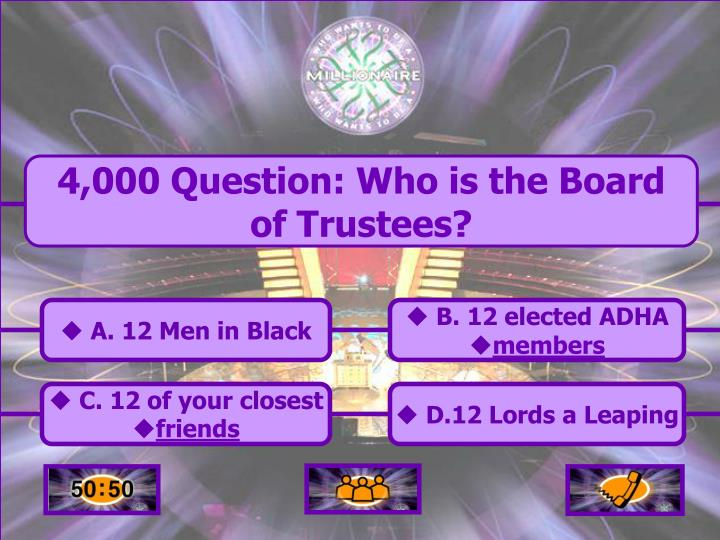 4,000 Question: Who is the Board of Trustees?