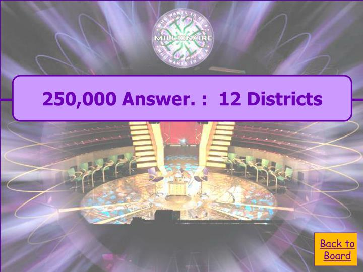 250,000 Answer. :  12 Districts