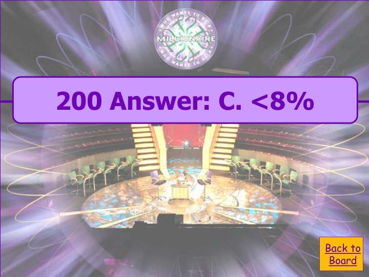 200 Answer: C. <8%