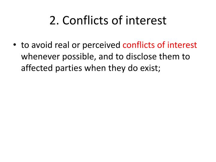 2. Conflicts of interest