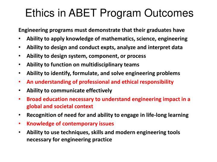 Ethics in ABET Program Outcomes