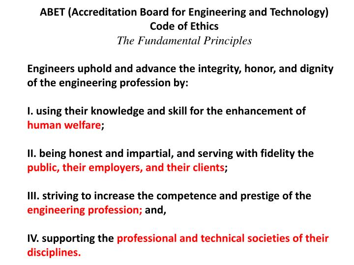 ABET (Accreditation Board for Engineering and Technology) Code of Ethics