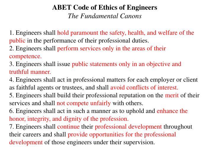 ABET Code of Ethics of Engineers