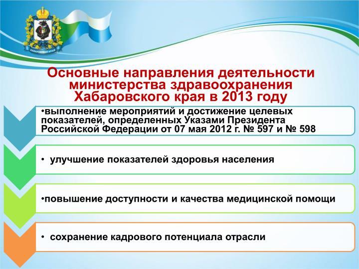 Основные направления деятельности министерства здрав...