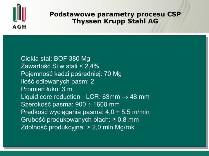 Podstawowe parametry procesu CSP  Thyssen Krupp Stahl AG