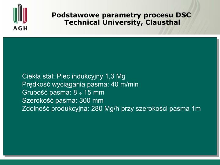 Podstawowe parametry procesu DSC