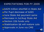 expectations for fy 2009
