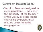 canons on deacons cont
