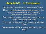 acts 6 1 7 in conclusion