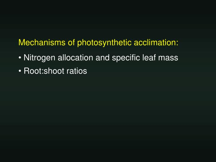 Mechanisms of photosynthetic acclimation: